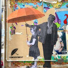 By @lemouvement_eu #lemouvement #umbrella #red #streetart #streetartist #urbanart #graffiti #collage #paris