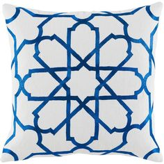 Emmet Modern Embroidered Blue Tile White Pillow ($225) ❤ liked on Polyvore featuring home, home decor, throw pillows, blue home decor, blue accent pillows, inspirational home decor, graphic throw pillows and mod home decor