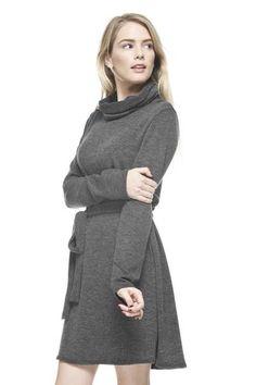 Hampden Long Sleeve Dress Charcoal