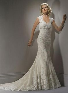 USD$223.02 - Queen Anne Neckline Lace Beaded Mermaid Wedding Dress - www.weddingdressbraw.com