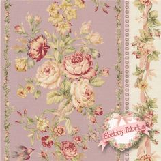"""Mary Rose Collection Amelia -  2170-12D By Quilt Gate Fabrics: Mary Rose Amelia is a collection by Quilt Gate Fabrics.  100% cotton.  43""""/44"""" wide.  This fabric features rows of large rose floral stripes in pale purple.  Swatch is 8"""" X 8""""."""