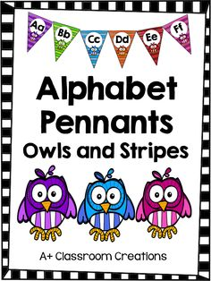 Alphabet Pennants:  Owls and Stripes