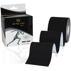 Kinesiology Tape By Olympic Gold Premium Therapeutic Athletic Black Strength Taping Sports Application Support *** For more information, visit image link. (This is an affiliate link) #SportsMedicine
