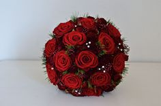 Christmas bouquet of red-roses,skimmia,pine+diamante by fioribylynne, via Flickr