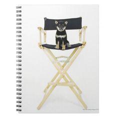 Shiba Inu dog on director's chair Notebook