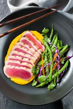Seared ahi tuna with crispy sesame green beans is a gourmet recipe made right at home! Silky cauliflower carrot ginger puree adds a touch of elegance. Tuna Recipes, Seafood Recipes, Gourmet Recipes, Asian Recipes, Cooking Recipes, Healthy Recipes, Gourmet Foods, Healthy Food, Dinner Recipes
