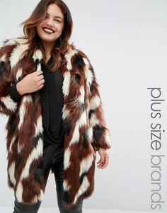 62f2a2204f8a Elvi Patchwork Faux Fur Coat https://api.shopstyle.com/action. Plus Size ...