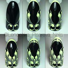 Nails & Co, Diy Nails, Hair And Nails, Stamping Nail Art, Nail Art Diy, Nail Art Arabesque, Uñas One Stroke, Mauve Nails, Nail Patterns