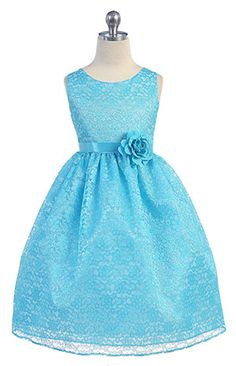 Girls Dress Style D749- TURQUOISE Sleeveless Lace Dress with Ribbon Sash