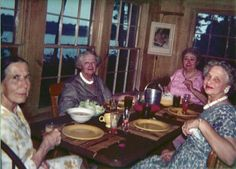 Original Kitchen, Meher Center, probably in the 1960s. — with Kitty Davy, Elizabeth Patterson, Murshida Ivy Duce and Laura Delavigne