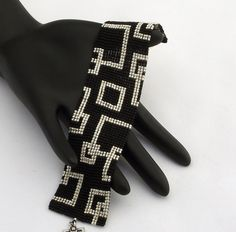 Square Stitch Beaded Bracelet Empty Squares Narrow Silver on