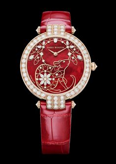 Harry Winston celebrates the Chinese Year of the Rat with an exquisite rose gold Premier timepiece. Set against a vibrant red mother-of-pearl background. Emerald Cut Diamonds, Diamond Cuts, Good Luck Chinese, Negative And Positive Space, Pearl Background, Oriental Fashion, Oriental Style, Chinese Paper Cutting, Year Of The Rat