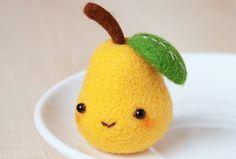 Pear by Katy-Doll on DeviantArt - Wool Needle Felting, Needle Felting Tutorials, Needle Felted Animals, Wet Felting, Felt Animals, Cute Crafts, Felt Crafts, Diy And Crafts, Crochet Kawaii