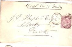 Victoria One Penny Lilac Stamp on original Envelope 1894