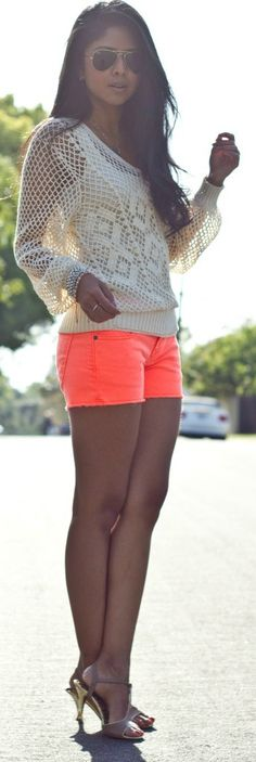 Crochet Sweater + Neon Shorts