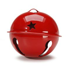 Large Red Jingle Bell with Star Cutouts, 2.75 inches