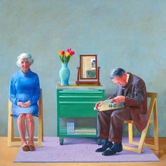 """A similar envision of my parents growing old together. I love how the portrait could look so lovely with its choices of gentle, soft and warm colours. A painting by David Hockney. David Hockney - """"My Parents"""" David Hockney Portraits, David Hockney Paintings, David Hockney Photography, Jasper Johns, Van Gogh Museum, Arte Pop, David Hockney Tate, Modern Art, Contemporary Art"""