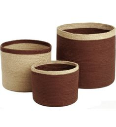 Keep your various items stored and organized in the home with the Brown Round Storage Baskets.