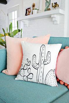 Your couch needs a diy cactus pillow. Diy Pillows, Decorative Pillows, Throw Pillows, Cactus Outline, Black Fabric Paint, Ideias Diy, Beautiful Mess, New Room, Diy Home Decor