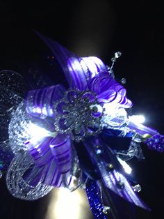 Homecoming wrist corsage with lights & rhinestones