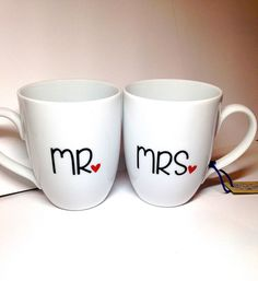 His and Hers mugs set  Mr. and Mrs. Engagement by ThatBigBlueWhale
