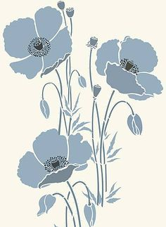 you can combine 3 different huge poppy stencils to make this ... or would be great for stencil on canvas.
