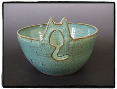 Large Yarn Bowl with Cute Cat in Turquoise
