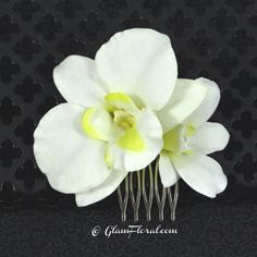 Dendrobiums Orchid Hair Clip in Cream White with by GlamFloral, $20.00