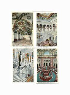 4 Library of Congress Vintage Postcards c1930s, Washington DC, Reading Room etc, Antique Unused Ephemera, Lot 2, FREE SHIPPING $9.75
