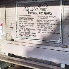 Compliments that aren't about physical appearance.