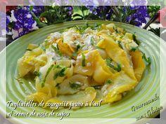 Gourmande sans gluten: Tagliatelles de courgette jaune à l'ail et crème d...