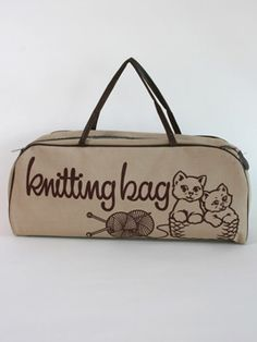 Kittens Knitting Bag: Classic vintage canvas knitting bag featuring a pair of cute little kittens.
