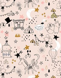 Fun kid's design with a circus theme. Motifs Textiles, Textile Prints, Textile Patterns, Kids Patterns, Print Patterns, Kids Graphics, Stoff Design, Baby Illustration, Kids Prints