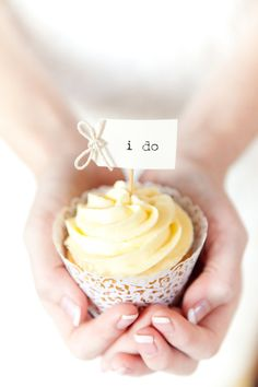"""Say it with sweets with a lovely """"I do"""" cupcake topper."""