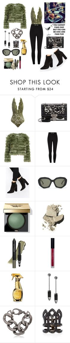 """""""fur &friends"""" by difracceliglo ❤ liked on Polyvore featuring Sans Souci, Balmain, Alice + Olivia, Missguided, Marni, Bobbi Brown Cosmetics, trèStiQue, Huda Beauty, Moschino and Olive"""