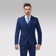 After self-cultivation, let off a button, a blue groom dress, wedding dress, a ball player, a pointed man's coat (jacket + pants