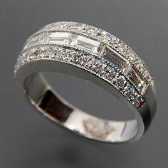 18k White Gold Baguette & Princess Cut 1.85 Ctw Diamonds Wedding Band – Gold Stream Boutique
