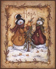 Snow Folk Hope Art Print by Mary Ann June at Urban Loft Art