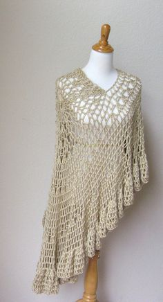 BEIGE CROCHET PONCHO Spring Fashion Shawl Cream by marianavail, $75.00
