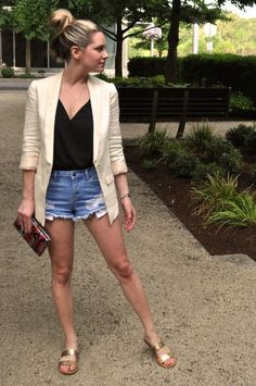 Cutoffs and a blazer. (Via Confessions of a Product Junkie blog.)