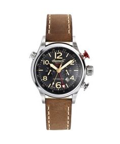 INGERSOLL Automatic Lawrence GMT Brown Leather Strap(IN3218BK) Ingersoll Watches, Brown Leather, Tan Leather, Brown Skin