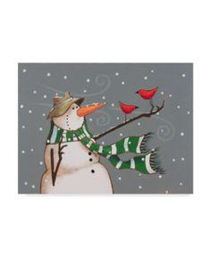 Margaret Wilson 'Snowman Scarf' Canvas Art - 19 x 14 - Multi 71142869144260478 Christmas Rock, Christmas Snowman, Christmas Crafts, Christmas Decorations, Christmas Ornaments, Christmas Carol, Pintura Country, Christmas Paintings, Snowmen Paintings