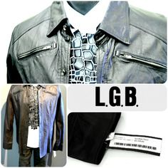 LGB brings a rocker aesthetic to high fashion. Paired with Kris Van Assche's take on a formal shirt, this outfit is ready for Friday night! Come into Flip to get styled for the weekend! Featured items: LGB black Leather Jacket (Medium) NWT price $1250 Flip price $498, Kris Van Assche Tuxedo Shirt (Medium), LGB striped Jeans (32) NWT price $699 Flip price $98 - #nashville #hip2flip #consignment #menswear #designerconsignment #ifsixwasnine #KrisVanAssche