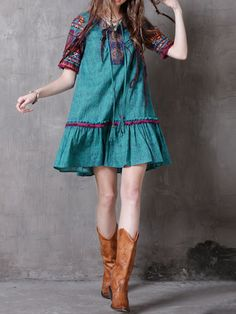 Women Ethnic Printed Short Sleeve V-Neck Vintage Mini Dresses