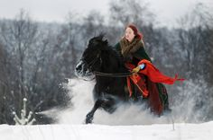 Untitled by Alma Totoryte on 500px A girl riding a horse through the snow