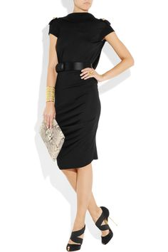 Alexander McQueen black wool dress a hit of fashion flair with a sleek satin belt and buttoned epaulets.