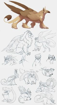 I would like to see an animated show with this kind of smooth art.  Griffins by hibbary.deviantart.com on @deviantART: