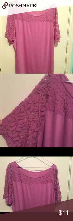 Lane Bryant cotton/spandex lacy shoulder 18/20 This top is from Lane Bryant it's a size 18/20 and is very nice condition . Cotton spandex blend so it's formfitting, and features peekaboo lace on the shoulders. This beautiful shade of purple  will be great for the upcoming season. Shop my closet and get a bundle for the best deals!!! I specialize in plus sizes👗👠👚👖📦💰😍 Lane Bryant Tops Tunics