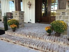 Farmhouse style brick front porch