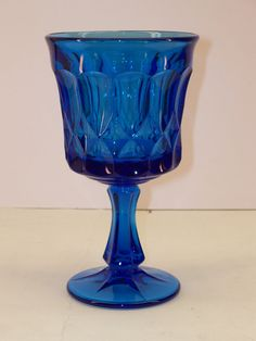 Vintage Noritake Perspective Peacock Blue Glass Thumbprint Stem Footed Water Goblet   by GarageSaleGlass, $15.99